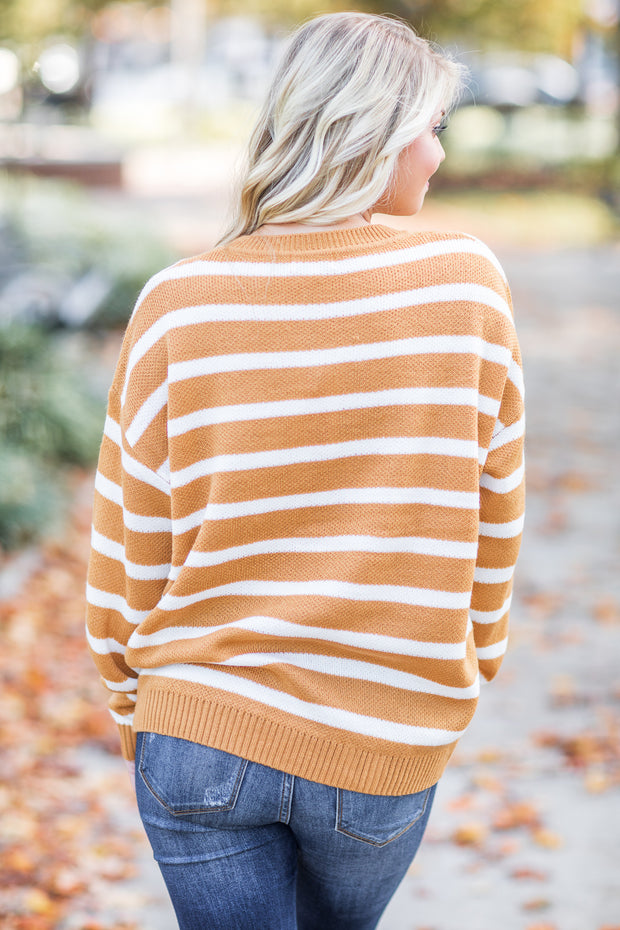 Ginger Stripe Knit Sweater Marigold - SALE