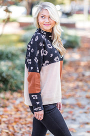 Hunter Color Block Sweater Leopard/Rust