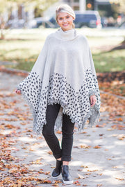 Willa Leopard Print Mock Neck Poncho
