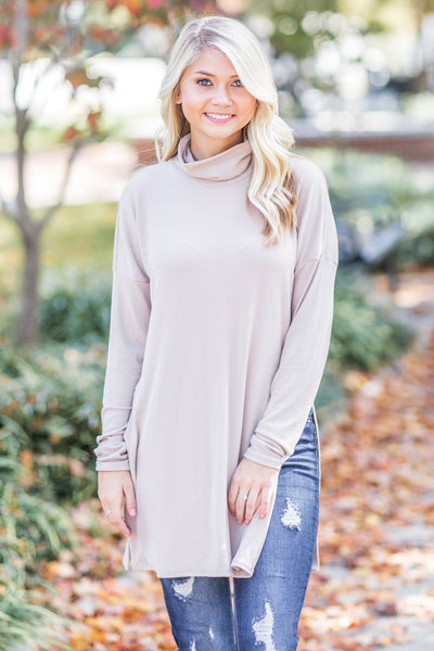Maisey Ribbed Mock Neck Top Taupe - FINAL SALE