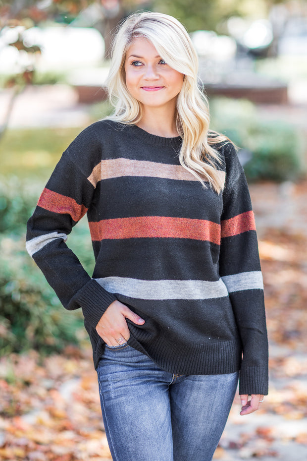 Laurel Striped Sweater Black
