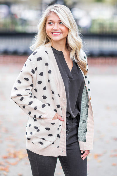 """Call Me Maybe"" Spotted Cardigan Taupe"