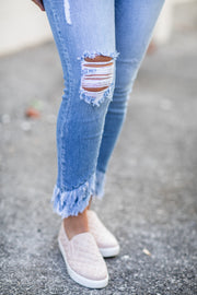 Addilyn Cropped Frayed Skinny Jeans Light Wash