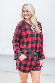 """Holly Jolly"" Lounge Shorts Buffalo Plaid"