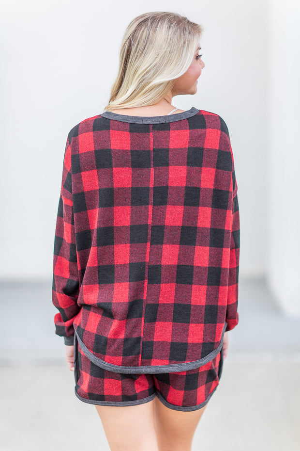 """Holly Jolly"" Henley Buffalo Plaid"