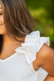 Claire Ruffle Shoulder Sleeveless Top Off White