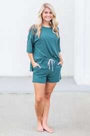 """Stay Close"" Ribbed Lounge Shorts Emerald"