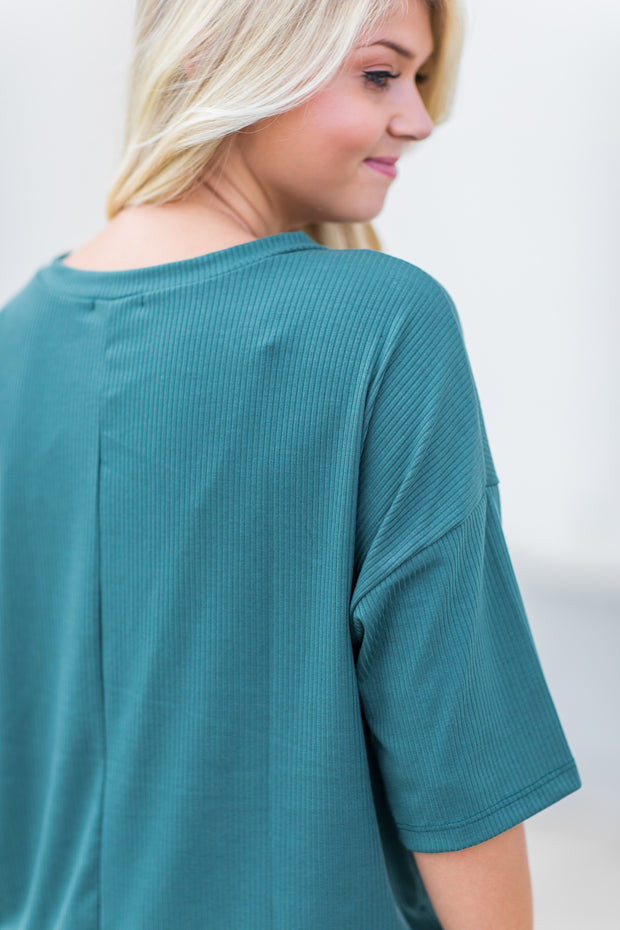 """Stay Close"" Ribbed Lounge Top Emerald"