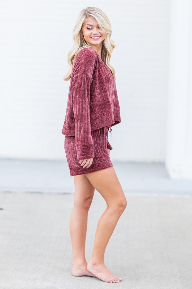 """Cozy Creature"" Velvet Lounge Top Plum"