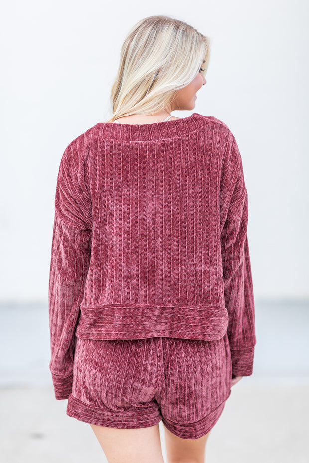 """Cozy Creature"" Velvet Lounge Top Plum - SALE"