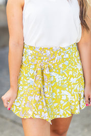 """Summer Sensation"" Floral Skort Yellow"