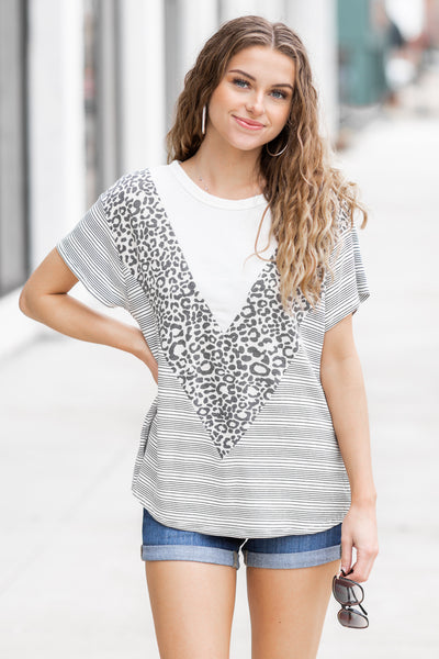 Shayna Leopard Chevron Stripe Top