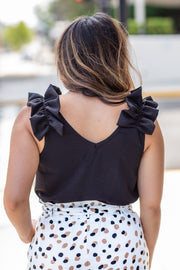 Claire Ruffle Shoulder Sleeveless Top Black