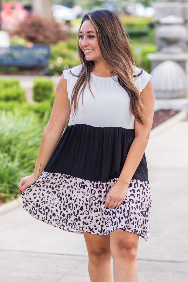 Cleo Color Block Leopard Dress Ivory/Black