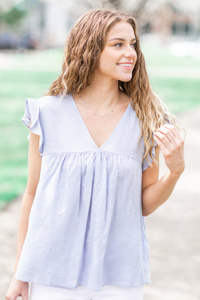 Bellamy Linen Babydoll Top Light Blue
