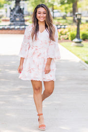 Rhea Watercolor Floral Ruffled Dress Ivory/Peach