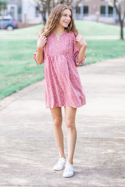 Emilee Polka Dot Dress Mauve