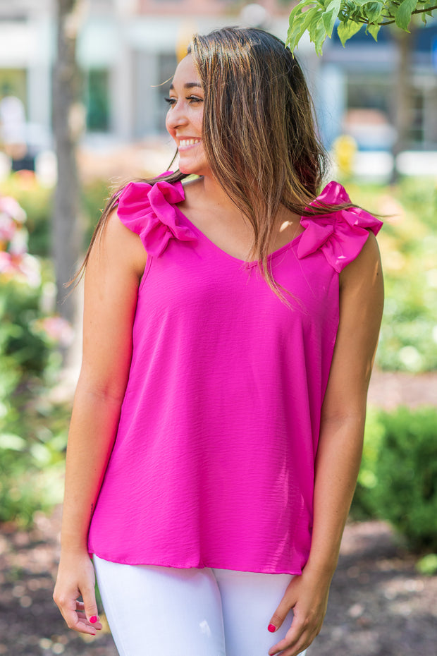 Claire Ruffle Shoulder Sleeveless Top Hot Pink