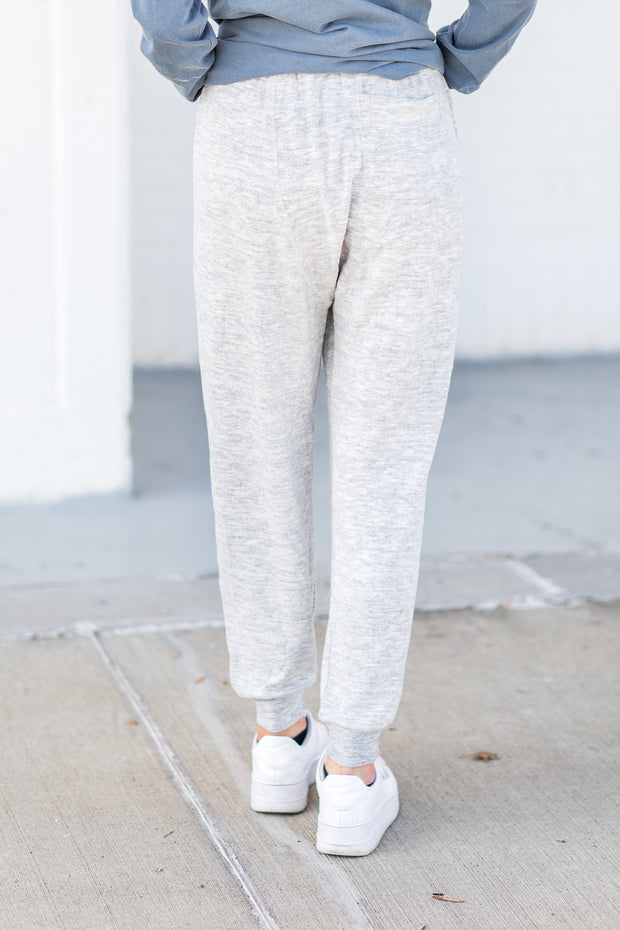"""Curled Up"" Joggers Heather Grey"