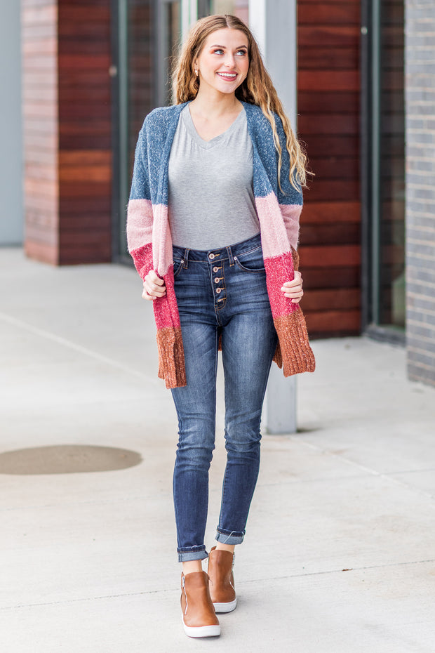 """Look At Her Now"" Colorblock Cardigan Teal/Pink"