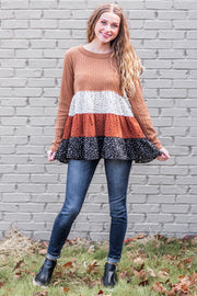 """Spotted Out"" Tiered Ruffle Top Camel"