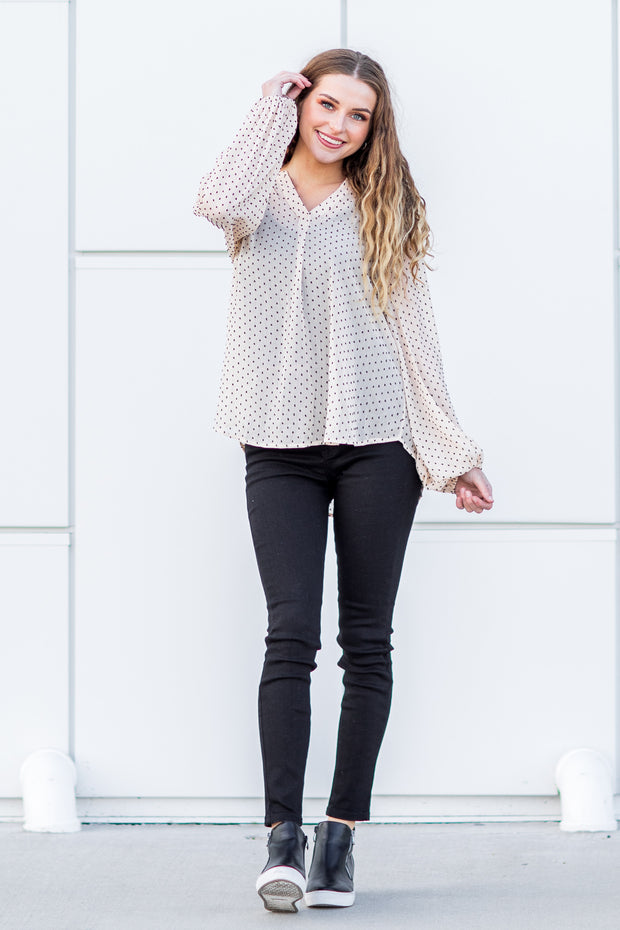 Lottie Spotted Top Ivory