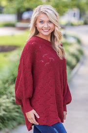"""Fall In The Air"" Knit Sweater Burgundy"