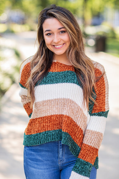 """Leaves Are Changing"" Stripe Chenille Sweater"