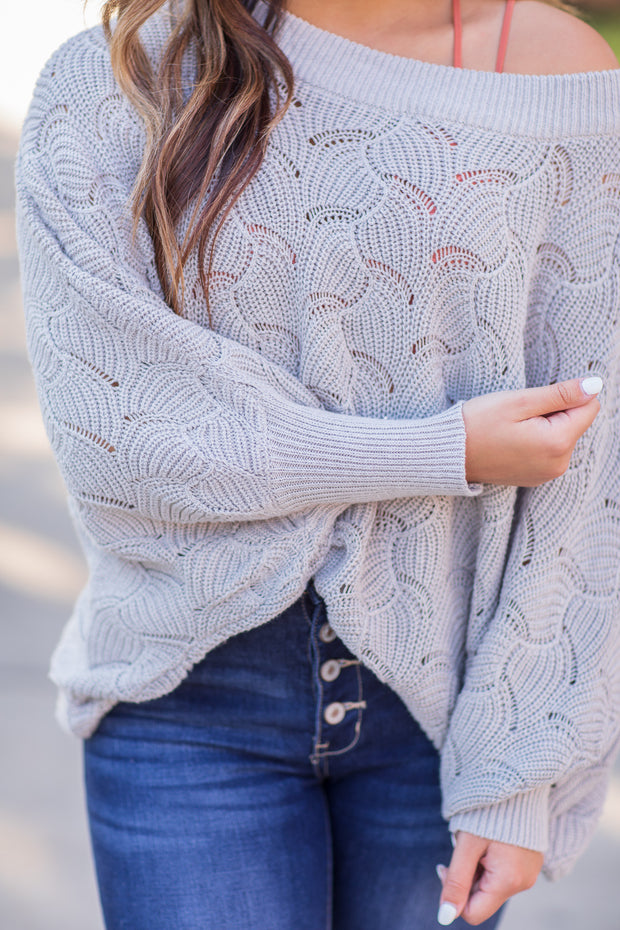 """Fall In The Air"" Knit Sweater Grey"