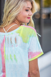 Skye Short Sleeve Tie-Dye Top Coral - FINAL SALE