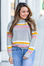 Baxter Striped Sweater Grey