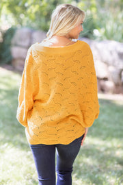 """Fall In The Air"" Knit Sweater Mustard"