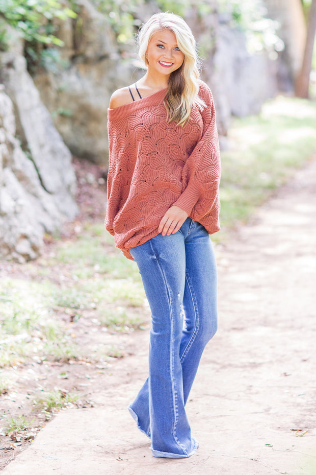 """Fall In The Air"" Knit Sweater Ginger"