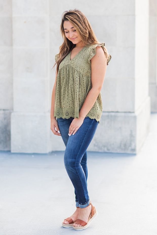 Fallon Eyelet Babydoll Top Olive - FINAL SALE