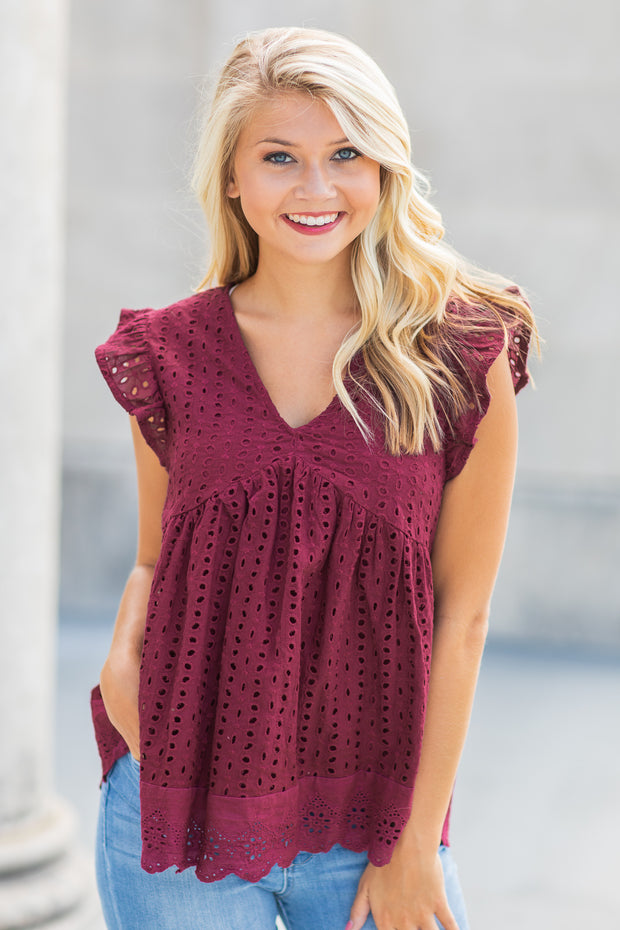 Fallon Eyelet Babydoll Top Burgundy - FINAL SALE