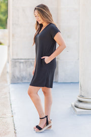 Alexis V-Neck Tee Dress Black