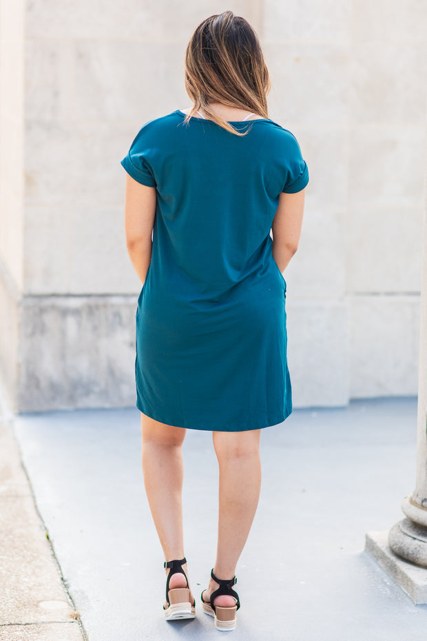 Alexis V-Neck Tee Dress Teal