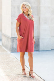 Alexis V-Neck Tee Dress Rust - SALE