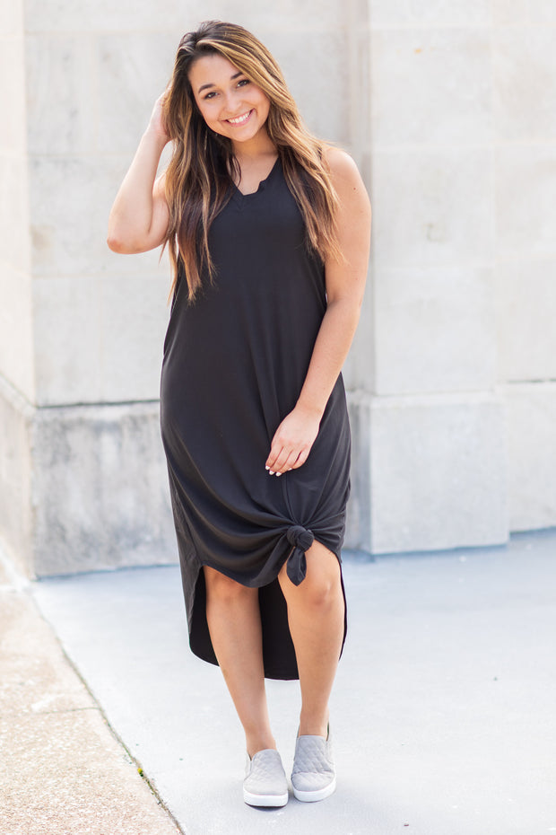"""Somewhere To Go"" Sleeveless Midi Dress Black"