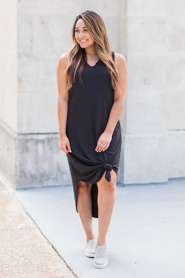 """Somewhere To Go"" Sleeveless Midi Dress Black - SALE"