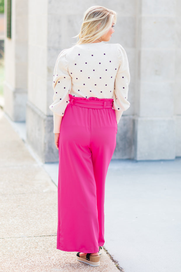 """Always Right"" Paper Bag Pants Hot Pink"