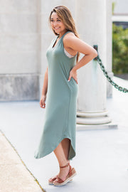 """Somewhere To Go"" Sleeveless Midi Dress Olive"