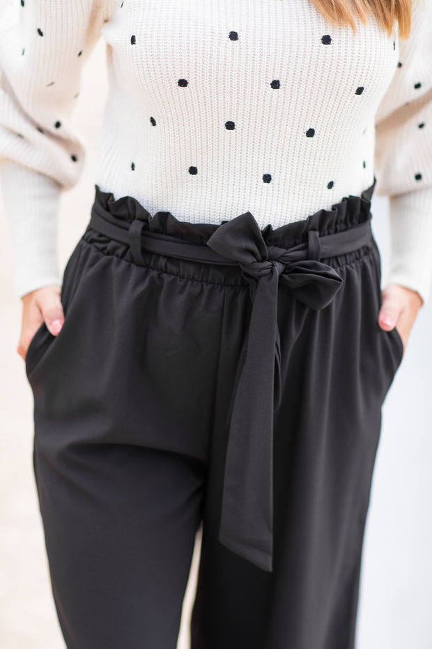 """Always Right"" Paper Bag Pants Black"
