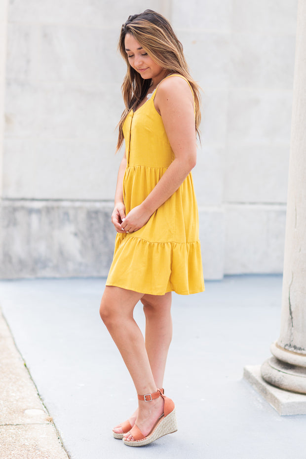 Rowan Button Sun Dress Mustard