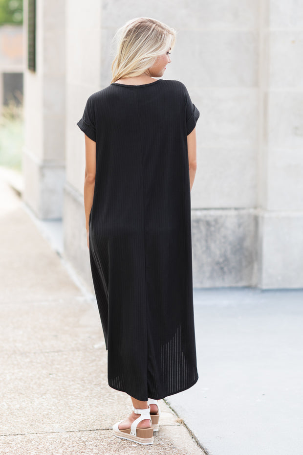 Payton Ribbed Maxi Dress Black