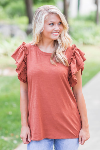 Oakley Ruffle Sleeve Top Rust