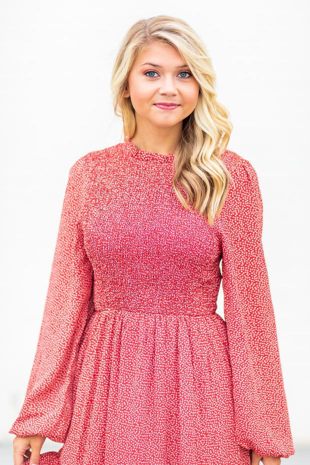 Addison Smocked Printed Dress Red