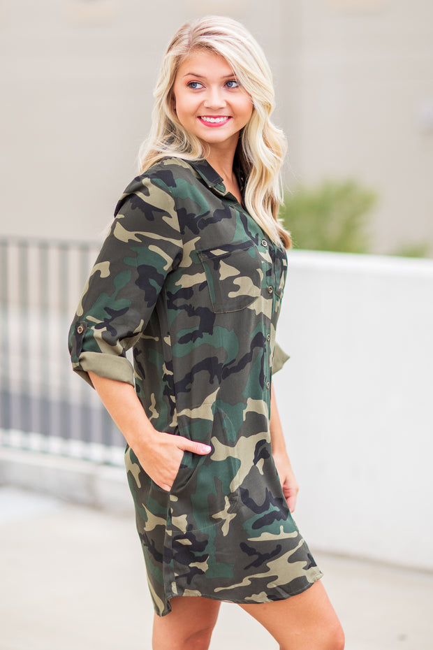 """Look At Me Now"" Camouflage Shirt Dress"