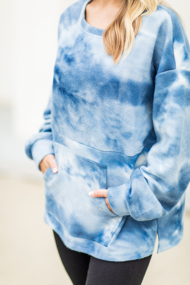 """Something Cozy"" Tie Dye Pullover Blue"