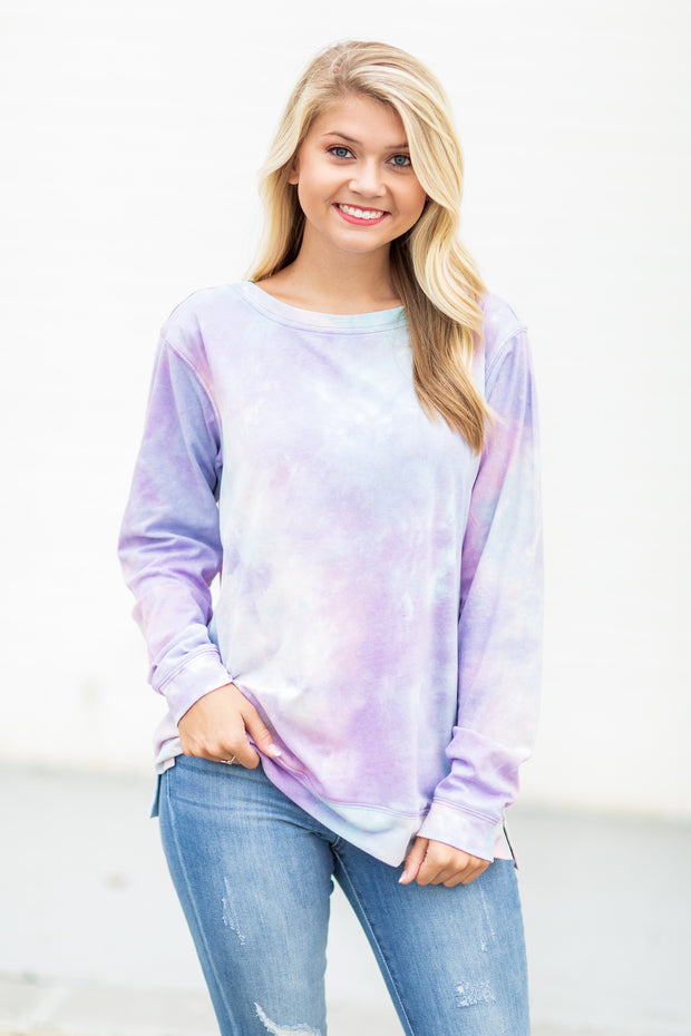 """Paint The Sky"" Tie-Dye Long Sleeve Shirt Blue/Pink"